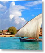 Dhow Off Zanzibar Metal Print