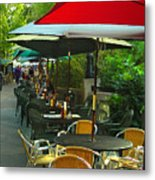 Dining Under The Umbrellas Metal Print