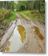 Dirty Autumn Road With Brown Pools After Rain Metal Print