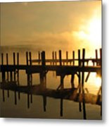 Docks-fire In The Sky Metal Print