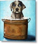Dog N Suds Metal Print by Leah Saulnier The Painting Maniac