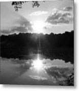 Double Sun Set  Metal Print by D R TeesT