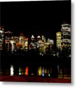 Downtown Calgary At Night Metal Print