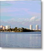 Downtown Tampa With Cruise Ship Metal Print