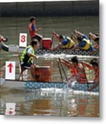 Dragon Boat Races On The Love River In Taiwan Metal Print