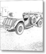 Drawing The Antique Car Metal Print