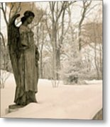 Dreamy Angel Monument Surreal Sepia Nature Metal Print