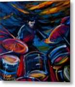 Drummer Craze Metal Print