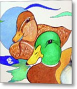 Ducks2017 Metal Print by Loretta Nash