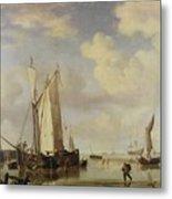Dutch Vessels Inshore And Men Bathing Metal Print by Willem van de Velde