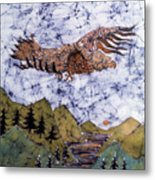 Eagle Flies Above Gorge Metal Print by Carol Law Conklin