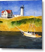 East Coast Lighthouse With Crab Boat Metal Print