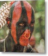 Eastern Woodland Indian Portrait Metal Print