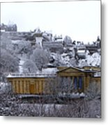 Edinburgh Castle And National Galleries Of Scotland In Winter Metal Print