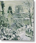 Effect Of Snow With Cows At Montfoucault Metal Print by Camille Pissarro