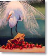 Egret With Strawberry Bag Metal Print