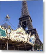 Eiffel Tower And Ancient Carousel Metal Print