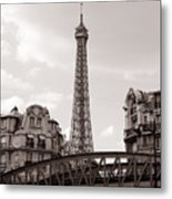 Eiffel Tower Black And White 3 Metal Print