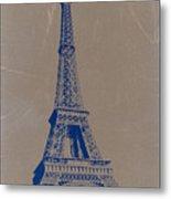 Eiffel Tower Blue Metal Print