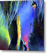 electric Stallion horse painting Metal Print