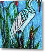 Elegant White Heron Metal Print