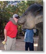 Elephant Kissing Man Holding Bananas Metal Print