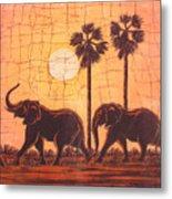 Elephants In Dry Heat Metal Print
