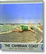 England Cambrian Coast Vintage Travel Poster Metal Print