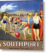 England Southport Restored Vintage Travel Poster Metal Print