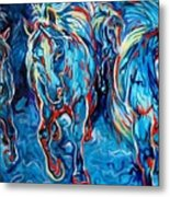 Equine Abstract Blue Four By M Baldwin Metal Print