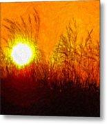 Evening Dunes Impasto Metal Print