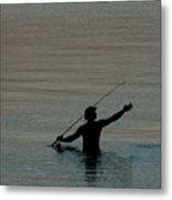 Evening Fisherman Metal Print