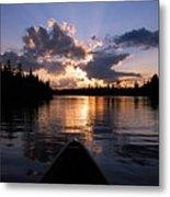 Evening Paddle On Spoon Lake Metal Print
