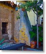 Exterior Wall Of Serra Chapel Mission San Juan Capistrano California Metal Print