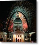 Fair St Louis Fireworks Metal Print by William Shermer