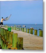 Fairhope Fisherman With Cast Net Metal Print