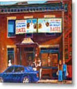 Fairmount Bagel With Blue Car  Metal Print
