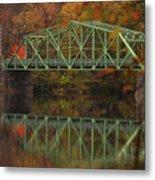 Fall Rocks Village Bridge Metal Print