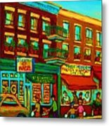 Family Frolic On St.viateur Street Metal Print