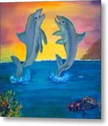 Fantasy Dolphins Metal Print