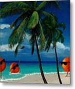 Fantasy-oranges Playing Football Metal Print