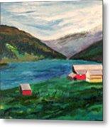 Farm At The Fjord Metal Print
