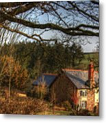 Farmhouse In The Valley Metal Print