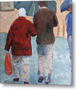 Father And Son Promenade Metal Print