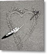 Feather Arrow Through Heart In The Sand Metal Print