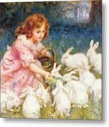 Feeding The Rabbits Metal Print by Frederick Morgan