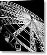 Ferris Wheel Against Black Sky Metal Print