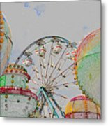 Ferris Wheel And Balloons Metal Print