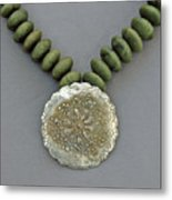 Fine Silver Doily Pendant On Green Jade Metal Print