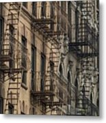 Fire Escapes On Brownstone Apartment Metal Print